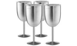Premium Grade 18/8 Stainless Steel Wine Glasses 12 Oz. Double-Walled 2 or 4-Pack