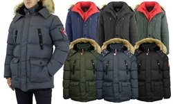 Spire By Galaxy Men's Heavyweight Parka Jacket with Detachable Hood (S-2XL)