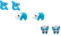 Children's 3 Pack Shark, Butterfly, and Dolphin Enamel Earrings in Silver