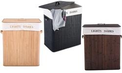 Costway Foldind Double Rectangle Bamboo Hamper Laundry Basket