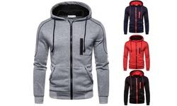Mens Casual Slim Fit Hoodie Zip-Up Long Sleeve Active Jackets