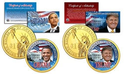 Donald Trump and Barack Obama Presidential 1 Dollar 2-Piece Coin Set with Bonus
