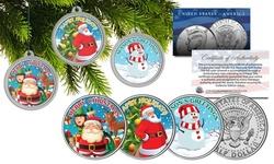 Merry Christmas Santa Snowman JFK Half Dollar 3-Coin Set Tree Ornament Capsules