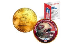 NFL Team Helmet Logo 24K Gold Plated 1976 IKE Bicentennial Dollar US Coin