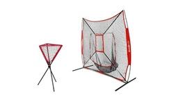 Portable 7x7' Baseball Practice Net Strike Zone Plus Portable Batting Ball Caddy
