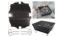 Portable Folding Steel Barbecue Grill with Removable Legs