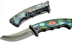 """4.5""""  Pocket Knife with Pocket Clip & Lanyard Hole, Spring Assisted, Tanto Blade"""