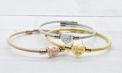 One, Two, or Three Personalized Solid Stainless Steel Bypass Heart Cable Bracelets (Up to 76% Off)