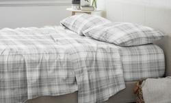 Home Collection Premium Plaid 4 Piece Flannel Bed Sheet Set