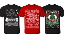 Men's Awesome Ugly Christmas Sweater T-Shirts (Extended Sizes Available)
