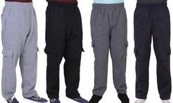 Oscar Sports Men's Straight Cargo Fleece Sweatpants (S-5XL)