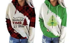 Women Dragonfly Christmas Tree Print Tops Round Neck Long Sleeve Casual Top