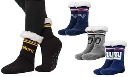 Forever Collectibles Women's NFL Footy Sherpa Sock Slippers