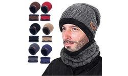 Winter Slouchy Thick Beanie Snow Knit Skull Cap Fleece Lining Warm Hat Scarf Set