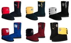 Forever Collectibles NFL Womens Knit Team Color High End Button Boot Slipper