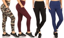 Haute Edition Women's Phone Pocket Full Length Active Leggings. Plus Sizes Available.