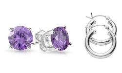 Genuine Gemstone Amethyst Studs and Polished Hoop Earrings Set (2 Pack)