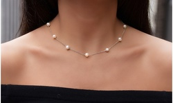 Genuine Freshwater Pearl Station Necklace in Sterling Silver