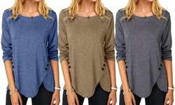 Women's Casual O Neck Long Sleeve Tunic T-Shirt With Button