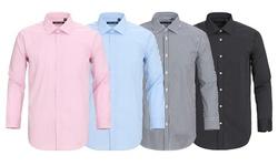Verno Men's Slim Fit Wrinkle-Free Cotton Dress Shirts