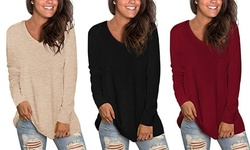 Womens T Shirts Basic V Neck Tee Loose Fitting Casual Long Sleeve Tops