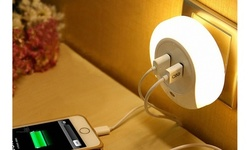 LED Night Light with Dusk to Dawn Sensor and Dual USB Wall Plate Charger