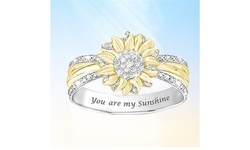 Elegant 18K Gold 925 Silver Two-tone Sunflower Diamond Ring