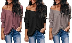 Women's Casual Off Shoulder Tops V Neck Waffle Knit Shirt Batwing Sleeve Tunics