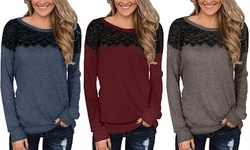 Women's Fashion Lace Stitching T-shirt Solid Color Long Sleeve Tunic Tops