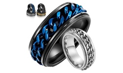 Men's Titanium Stainless Steel Chain Spinner Ring Punk Rock Rings Jewelry