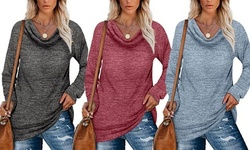 Women's Fashion Loose Tunics Long Sleeve Shirts Round Neck Pullover Tops