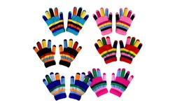 Kids Double Layer Warm Fleece Lined Rainbow Gloves  3 Pairs Gift Pack