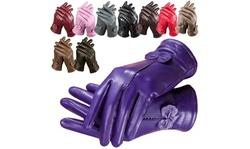 Women's Fashion Winter Warm Soft Sheepskin Real Leather Gloves