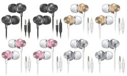 (2 Pack) Overtime Metallic Wired Ergofit Earphone In-Ear Stereo Earbud Headphone
