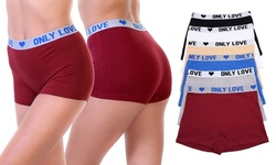 6-Pack Cotton Boyshort Panties with Only Love Elastic Waistband