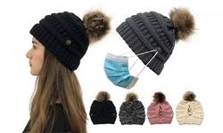 Women Messy Bun High Ponytail Knit Cap Winter Warm Side Button Hats