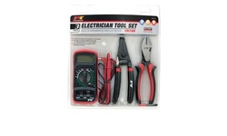 Electrician Tool Set - Digital Multi-Meter, Wire Cutter/Stripper (3-Piece)