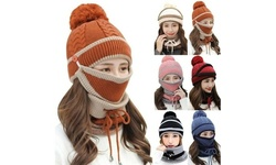 3PCS Women Beanie Hat Pom Bobble Scarf Mask Set Warm Snow Ski Cap