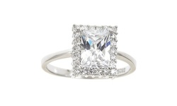 Solid Sterling Silver Emerald Cut Halo Rings