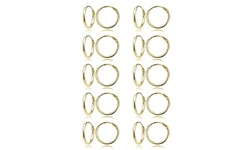 Yellow Gold Flashed Silver Small Endless 10mm Round Unisex Hoop Earrings, 10 Prs