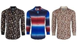 Suslo Couture Men's Slim-Fit Designer Woven Long Sleeve Button Down Shirt