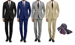 Braveman Men's 2-Piece Slim-Fit Suit with Tie and Dress Socks