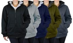 Women's Heavyweight Oversized Loose-Fit Sherpa Fleece-Lined Zip Hoodie (M-2XL)