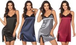 Womens Sexy Lace Lingerie Nightgown Imitation Silk Pajamas