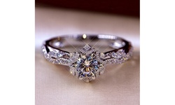 Womens Fashion 925 Sterling Silver Gemstone White Sapphire Diamond Ring