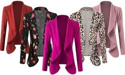 Doublju Women's Long Sleeve Crepe Flare Blazer with Shawl Collar