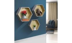Sorbus Hexagon Floating Wall Mounted Shelf Set
