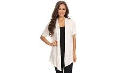 MOA Collection Women's Solid Short Sleeves Draped Cardigan. Plus Sizes.