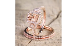 2PCS Dazzling Newest Vintage Design Diamond Rose Gold Engagement Ring for Women