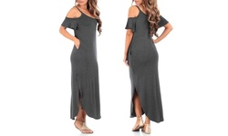 Women's Cold Shoulder Maxi Dress with Pockets in Regular and Plus Sizes